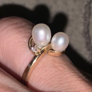 Pearl ring 14k real yellow gold sz6